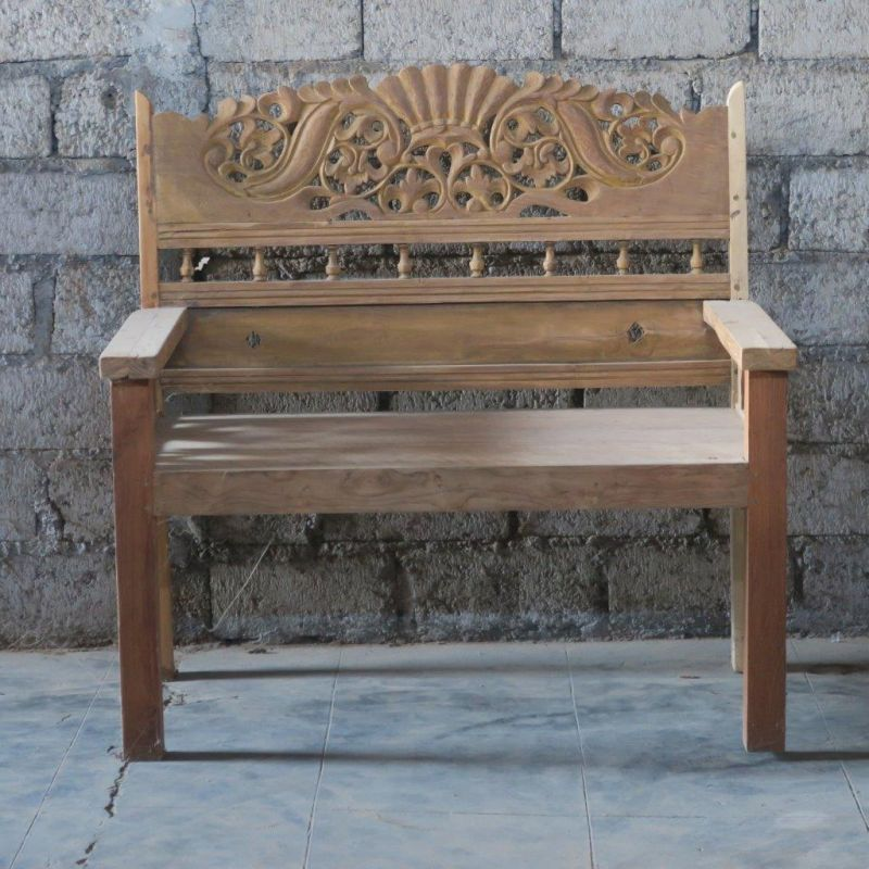 NATUR TEAK BENCH WITH ORIGINAL CARVING   - BENCHES
