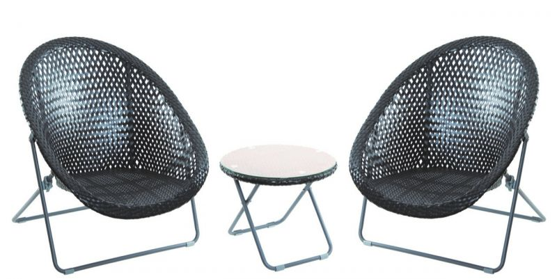 PLASTIC RATTAN GARDEN CHAIR SET