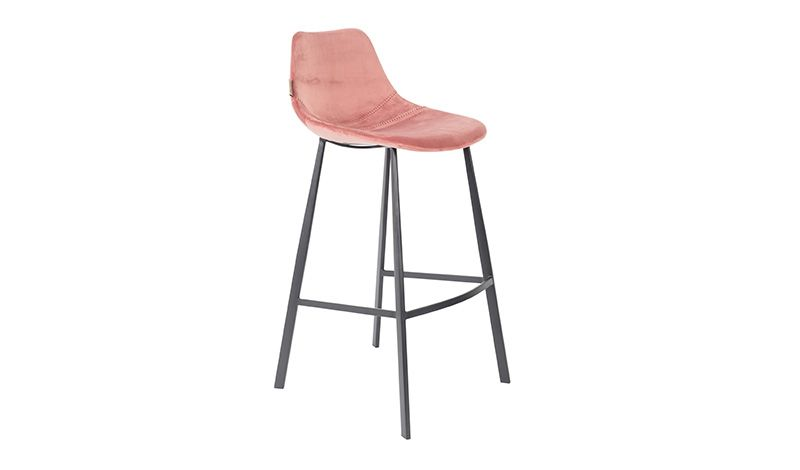 COUNTER STOOL VELVET OLD PINK    - CHAIRS, STOOLS
