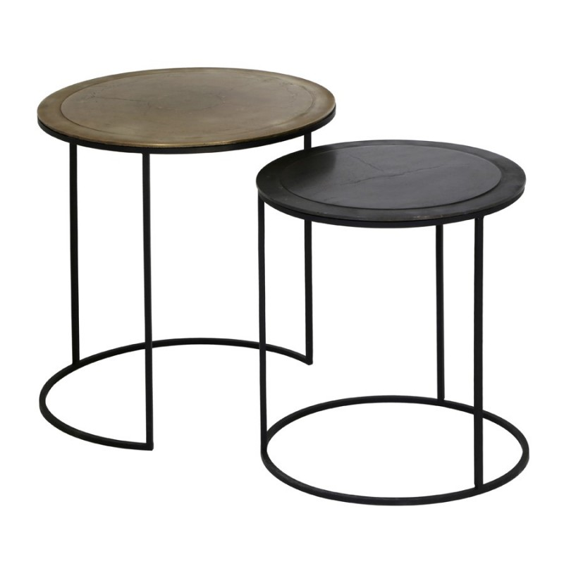 SIDETABLE COPPER AND BRONZ EDGE     - CAFE, SIDETABLES