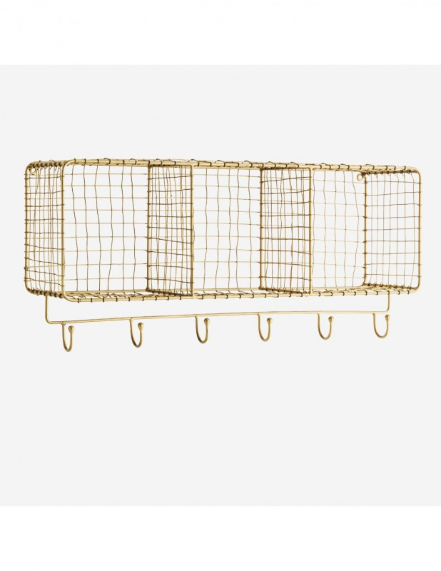 BRASS WIRE WALL SHELF WITH HOOKS - CABINETS, SHELVES