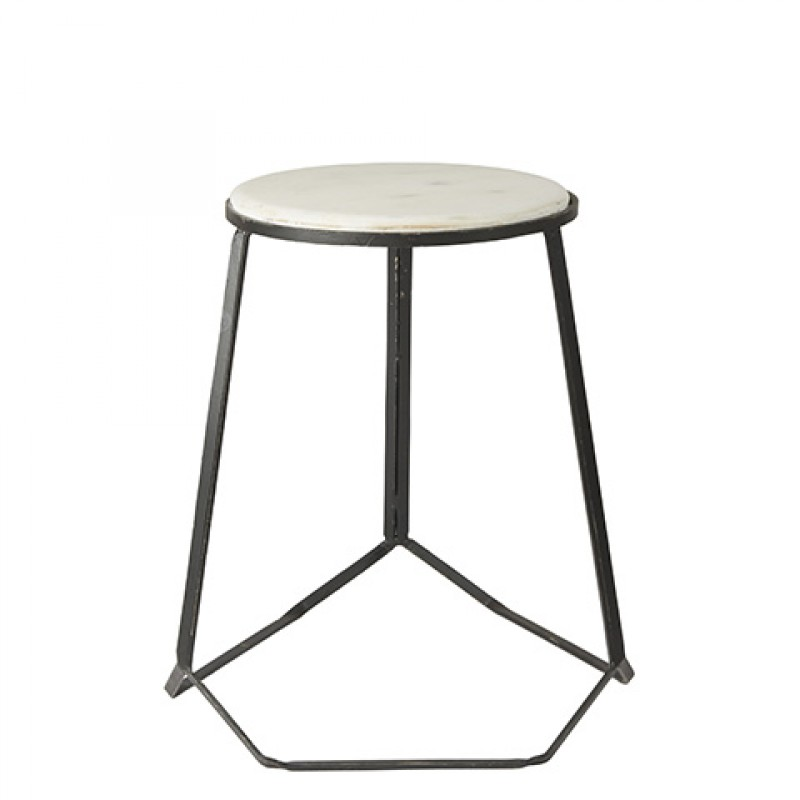 MARBLE TOP STOOL BLACK    - CHAIRS, STOOLS