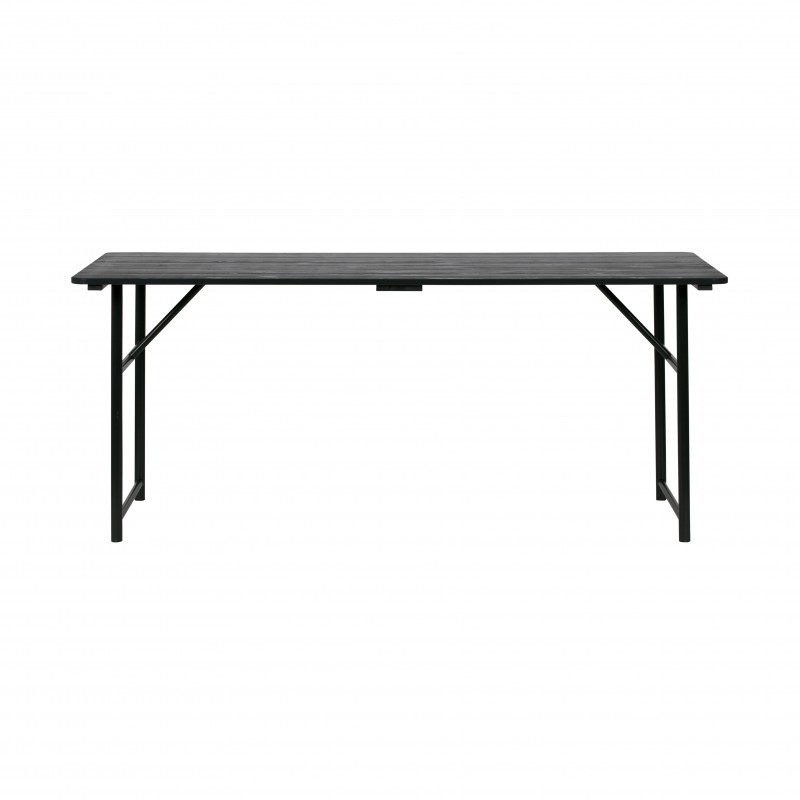 BLACK WOOD TOP DINING TABLE       - DINING TABLES