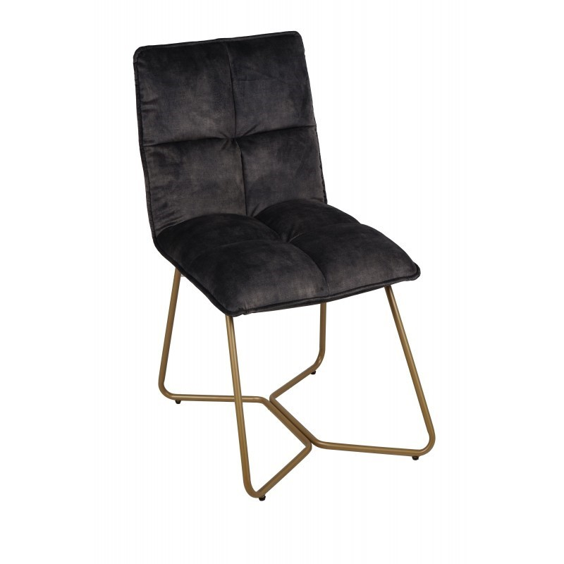 ANTHRACITE VELVET DINING CHAIR COPPER LEG    - CHAIRS, STOOLS