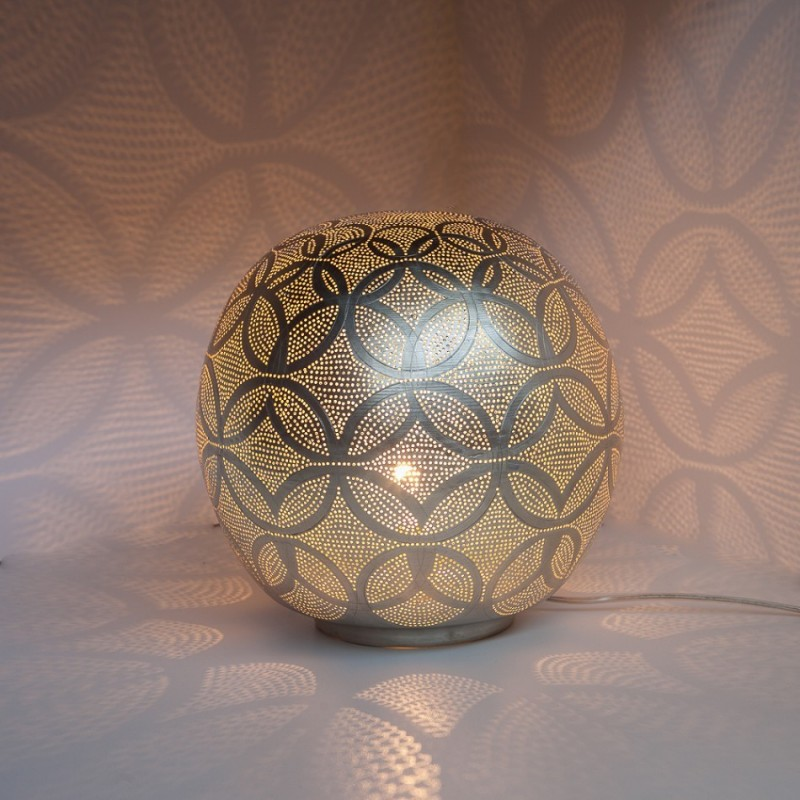 TABLE LAMP BALL CRC BRASS SILVER PLATED     - TABLE LAMPS