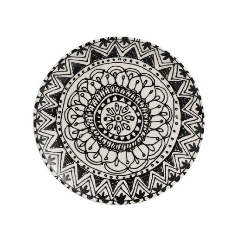 PLATE BOHO BLACK AND WHITE CERAMIC       - DECOR ITEMS