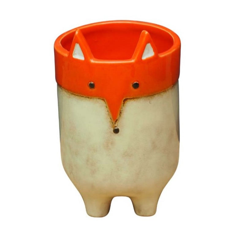 CERAMIC POT ORANGE FOX