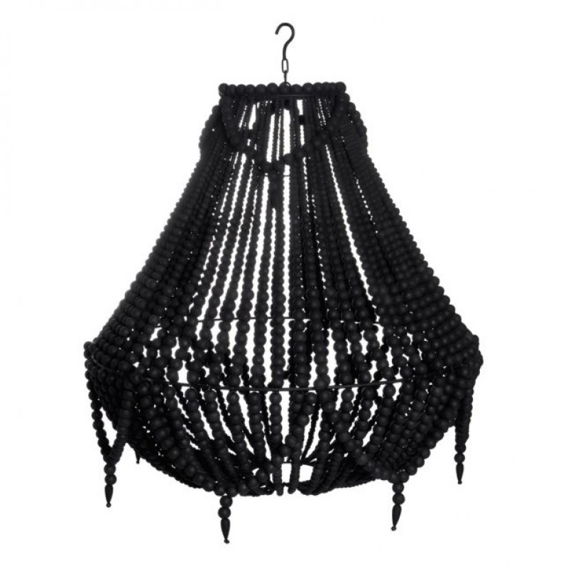 BLACK WOODEN PEARL CHANDELIER WITH EXTRA CHAIN      - HANGING LAMPS