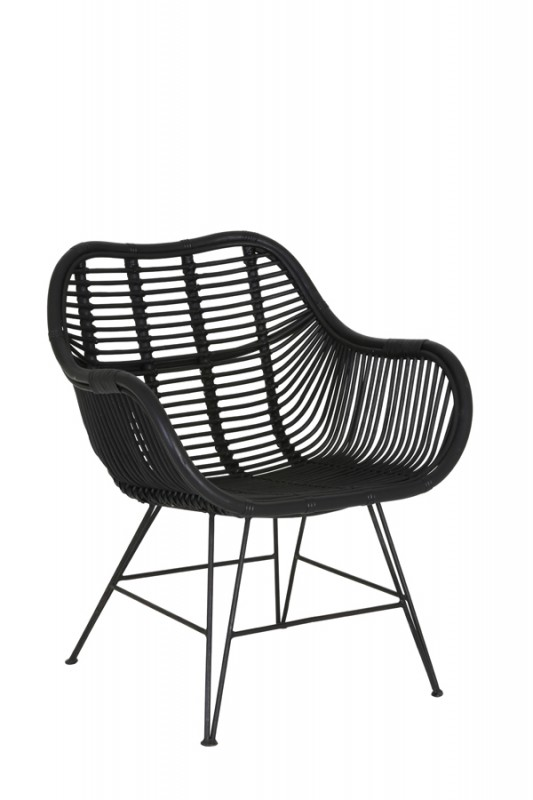 ARMCHAIR BLACK RATTAN 64    - CHAIRS, STOOLS