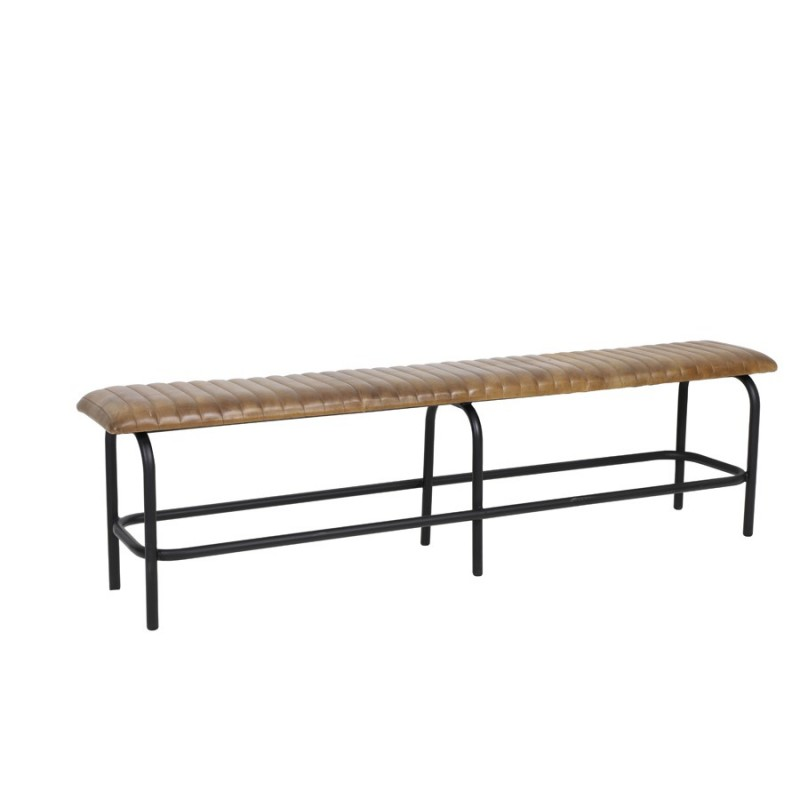 BENCH STAPLED BROWN LEATHER 180   - BENCHES