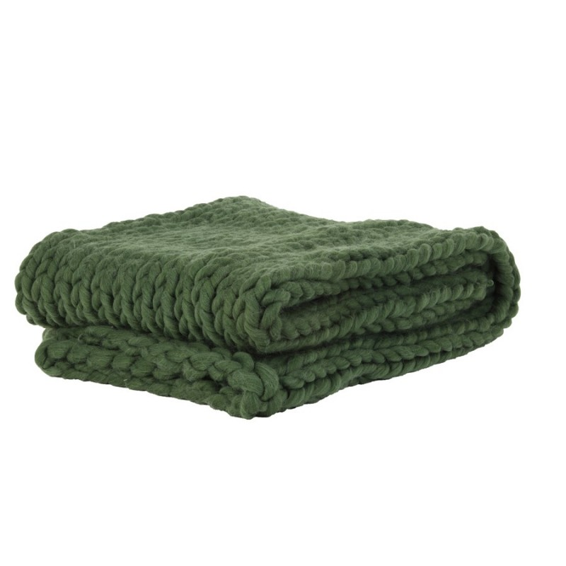 HEAVY KNITTED BLANKET OLIVE    - BLANKETS