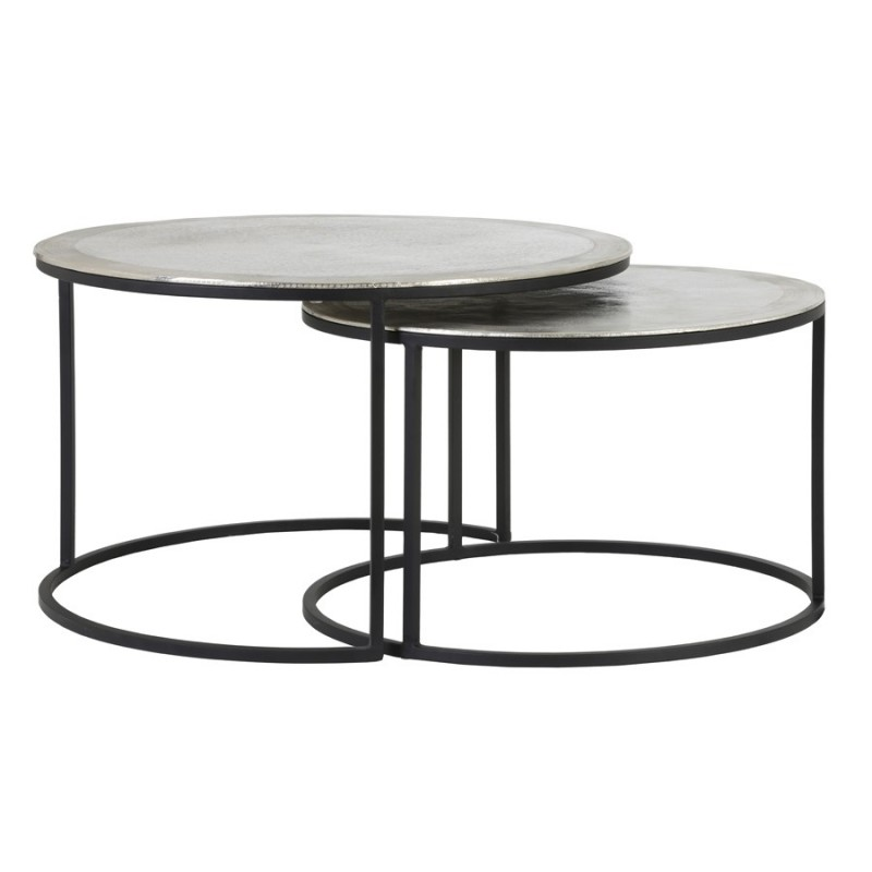 CAFE TABLE TLC SILVER METAL 2 SIZES     - CAFE, SIDETABLES