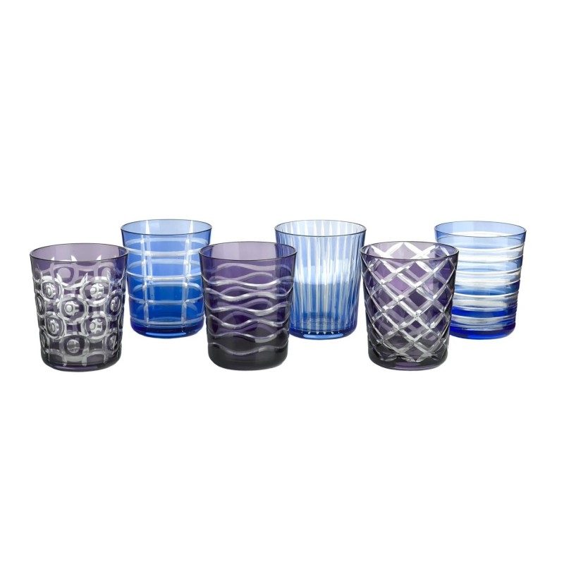 TUMBLER GLASS COBALT SET OF 6