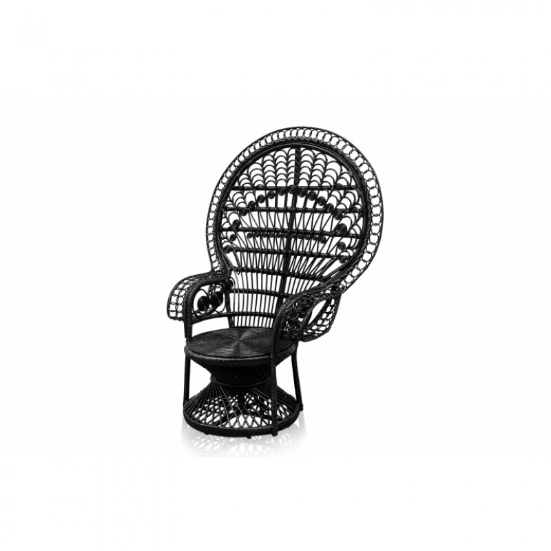 BLACK RATTAN PEACOCK ARMCHAIR    - CHAIRS, STOOLS