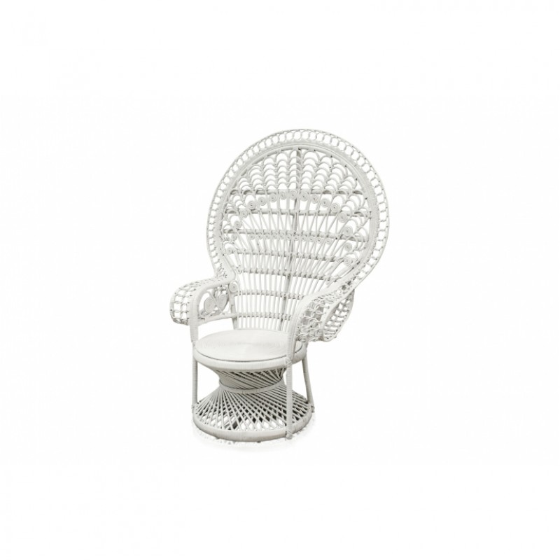 WHITE RATTAN PEACOCK ARMCHAIR    - CHAIRS, STOOLS