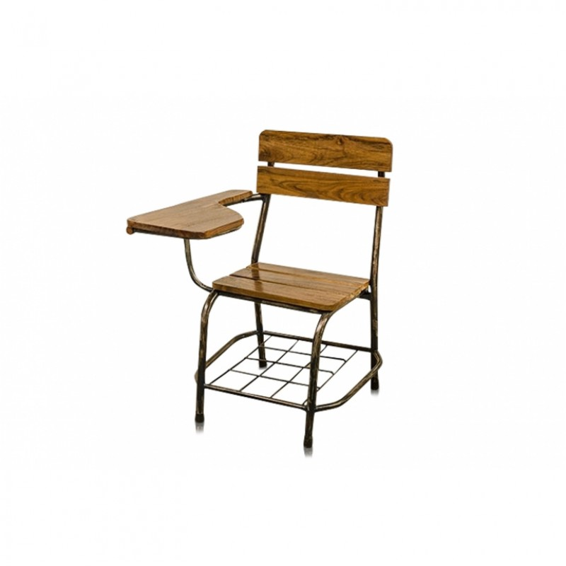 OLD STUDENT CHAIR IRON TEAK    - CHAIRS, STOOLS