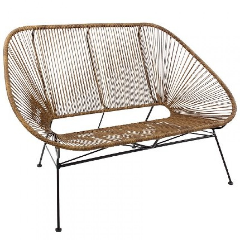 BENCH MEXICO SYNTETIC RATTAN LOOK NATURAL INDOOR    - CHAIRS, STOOLS
