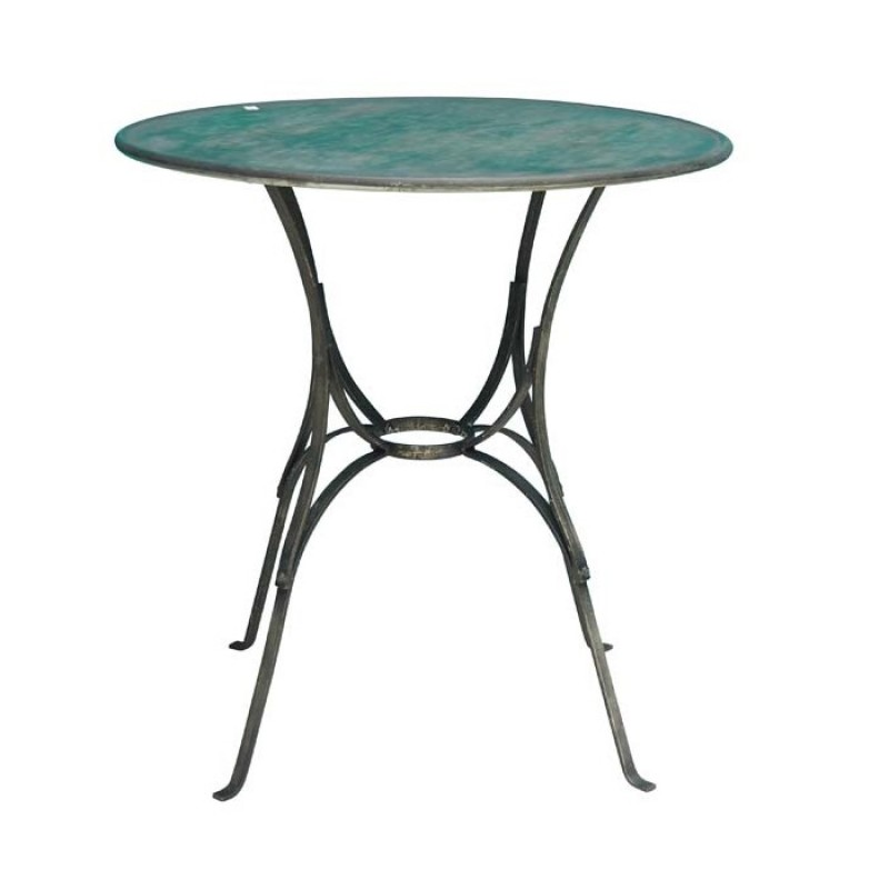 SMALL METAL ROUND TABLE     - CAFE, SIDETABLES