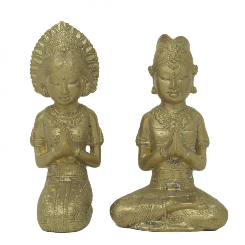 COUPLE PRAYER BRONZE GOLDEN COLOR - BRONZE STATUES