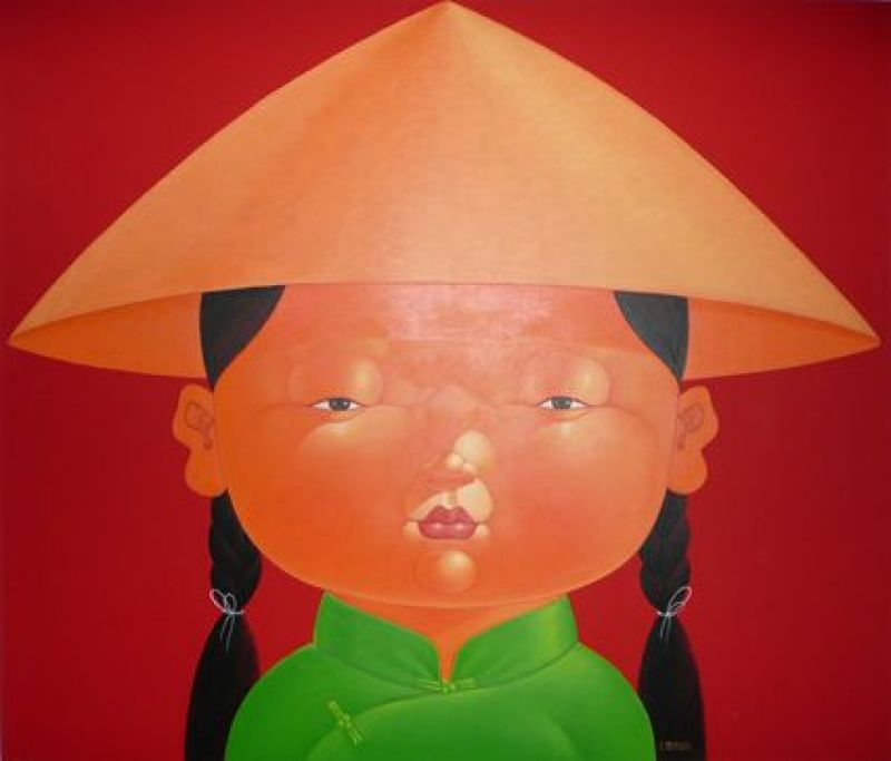 RICE HAT GIRL RED - PAINTINGS