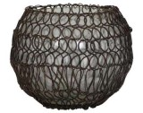 TEALIGHT BALL RUSTY WIRE    - CANDLE HOLDERS
