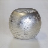 WAXHOLDER BALL FLSK BRASS SILVER PLATED    - CANDLE HOLDERS