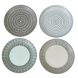 CERAMIC PLATE BLACK WHITE SET OF 4