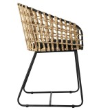 CHAIR METAL RATTAN NATURAL JAPAN    - CHAIRS, STOOLS