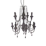 HANGING LAMP 12 FLAMES GREY PLASTIC CHANDELIER      - HANGING LAMPS