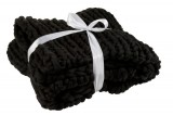 HAND KNITTED PLAID BLACK    - BLANKETS