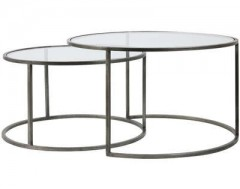 GLASS TOP ZINK FRAME CAFE TABLE 2 SIZES