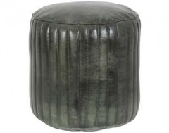 POUF GREEN LEATHER