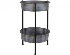 ZINC BASKET SIDETABLE WITH 2 LEVEL