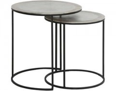 METAL SIDETABLE SET OF 2 RAW NICKEL