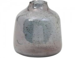 VASE GLASS STONE FINISH BLUE 13      - POTS, VASES, PLATES
