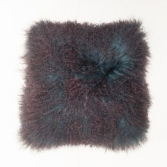 PILLOW TIBETAN LAMB LEATHER WITH WOOL IN PURPLE