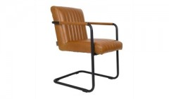 ARMCHAIR STITCHED COGNAC VINTAGE PU LEATHER    - CHAIRS, STOOLS