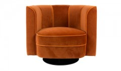 LOUNGE CHAIR AROUND ORANGE VELVET    - CHAIRS, STOOLS
