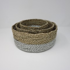 SILVER SEAGRASS BASKETS 3 SIZES