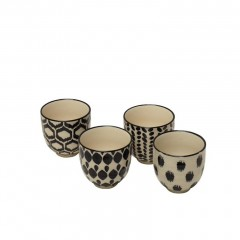 ESPRESSO CUP BLACK AND NATURAL SET OF 4