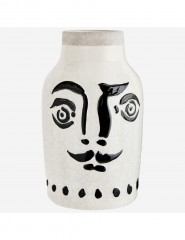 FACE BLACK AND WHITE STONEWARE VASE      - POTS, VASES, PLATES