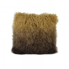 CUSHION LAMB FUR OMBRE YELLOW AND BROWN