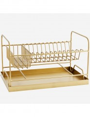 GOA DISH RACK WITH TRAY ANTIQ BRASS FINISH