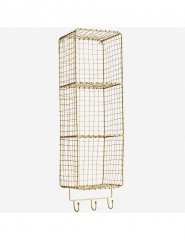 WIRE SHELF BRASS WITH HOOKS 70