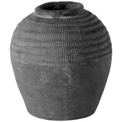 CERAMIC JAR EARTH WITH GROOVES      - POTS, VASES, PLATES