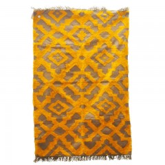 ORANGE SILK AND JUTE RUG