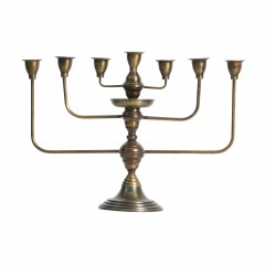 CANDLEHOLDER 7 ARMS METAL ANTIQUE BRASS