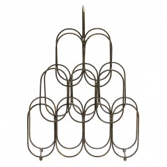 FIRE WINE RACK METAL ANTIQUE BRASS