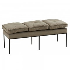 BENCH 3 SEATER BEIGE VELVET CUSHION METAL LEG   - BENCHES