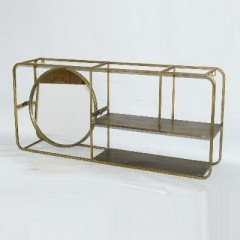 BRASS FRAMED MIRROR ETAGERE - CABINETS, SHELVES